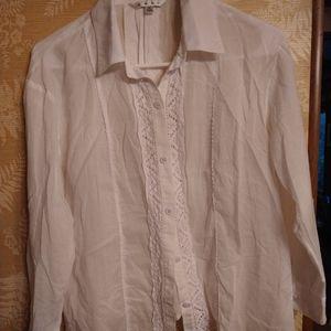 Cabi white sheer blouse